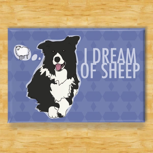 Border Collie Magnet - I Dream of Sheep - Dog Magnet - PopDoggie