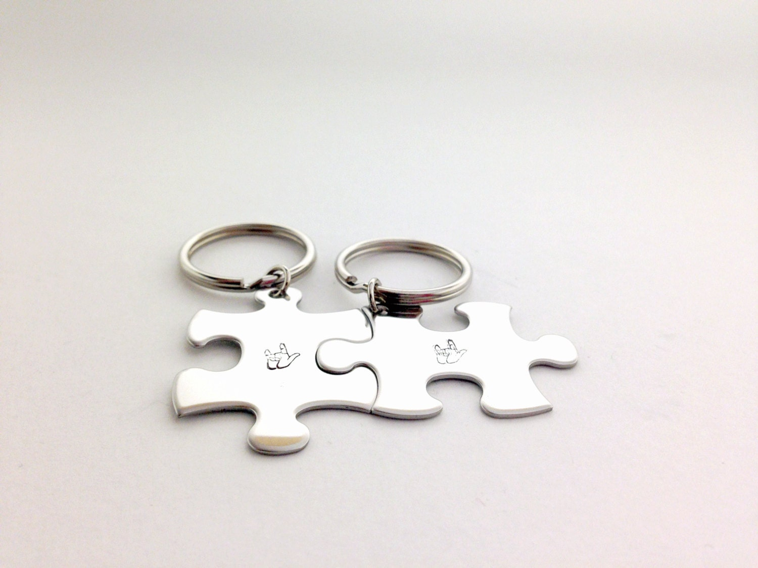 I Love You Keychain Sign Language Finger Spelling Puzzle Piece