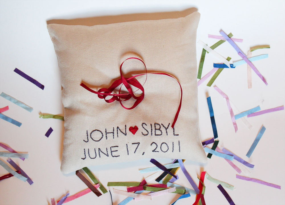 CUSTOM Ring Pillow with embroidered names and wedding date