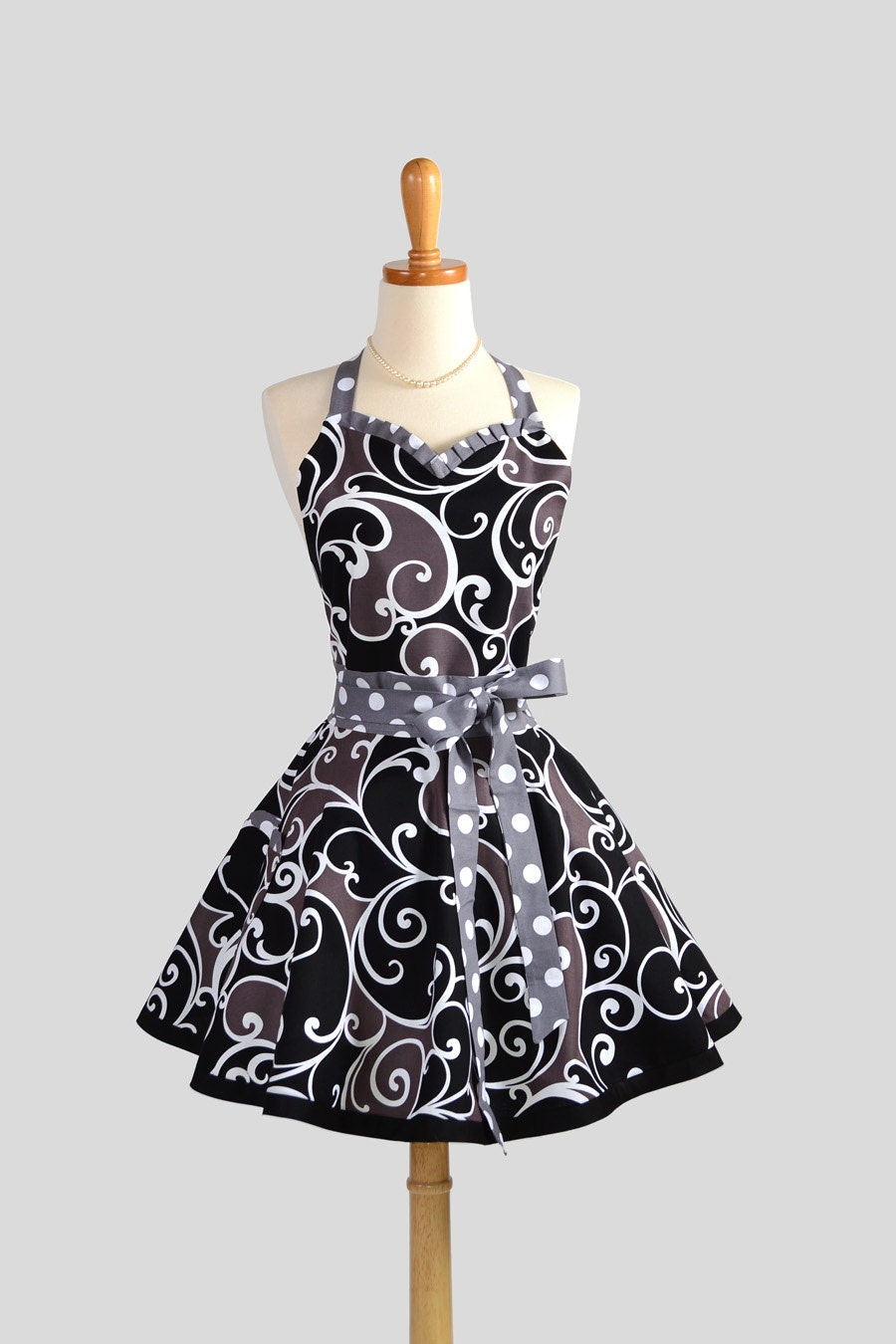 Sweetheart Retro Apron , Sexy Kitchen Apron in Michael Miller Surf Collection Grey Black and White
