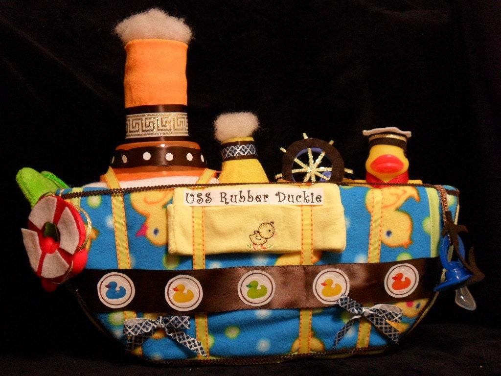 Boat Diaper Cake - Rubber Duckie Diaper Boat
