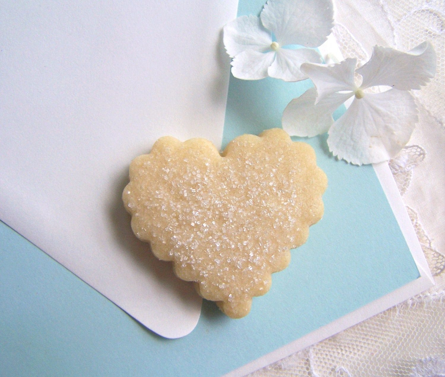Wedding Favors - Shortbread Cookie Hearts - 100 White Boxes - ButterBlossoms