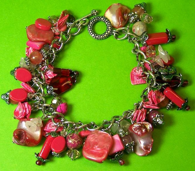 Mother of Pearl Chunky Bracelet with Semi Precious Beads