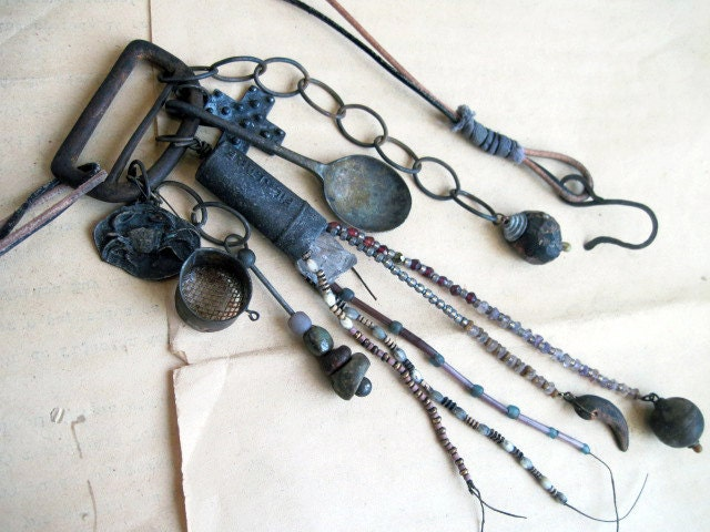 Saddle Gems II. Metaphysical Tribal Assemblage Necklace.