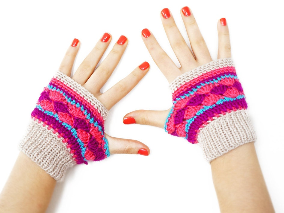 FREE SHIPPING // Handmade Colorful Fingerless Gloves Purple Turqoise Pink Beige