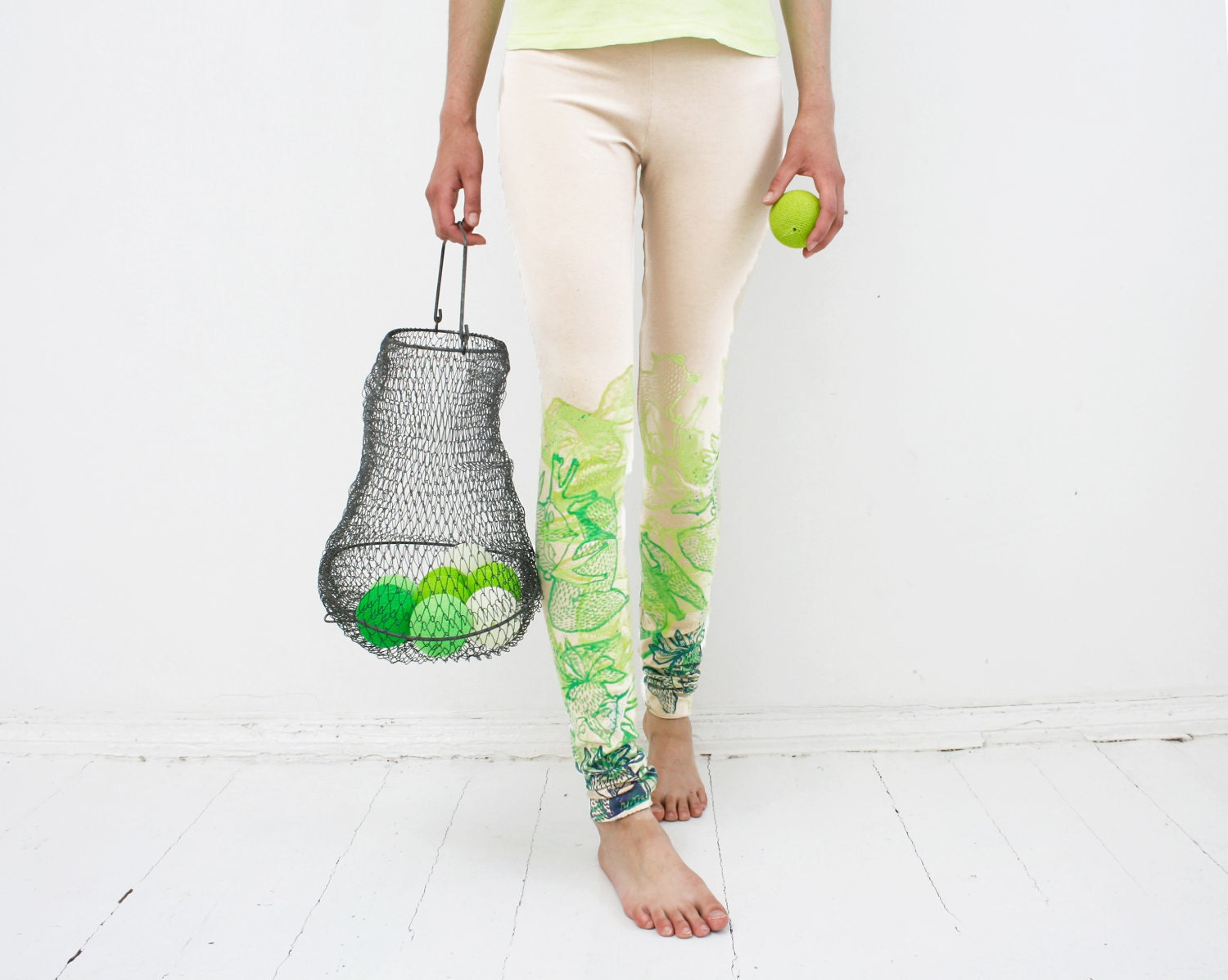 Live green - beige leggings with lime green print - ZIBtextile