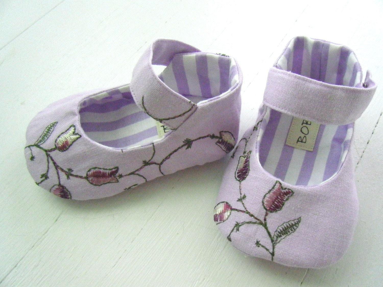 Прекрасные Лаванда Лен Мэри Джейн обувь для вашего ребенка девушка