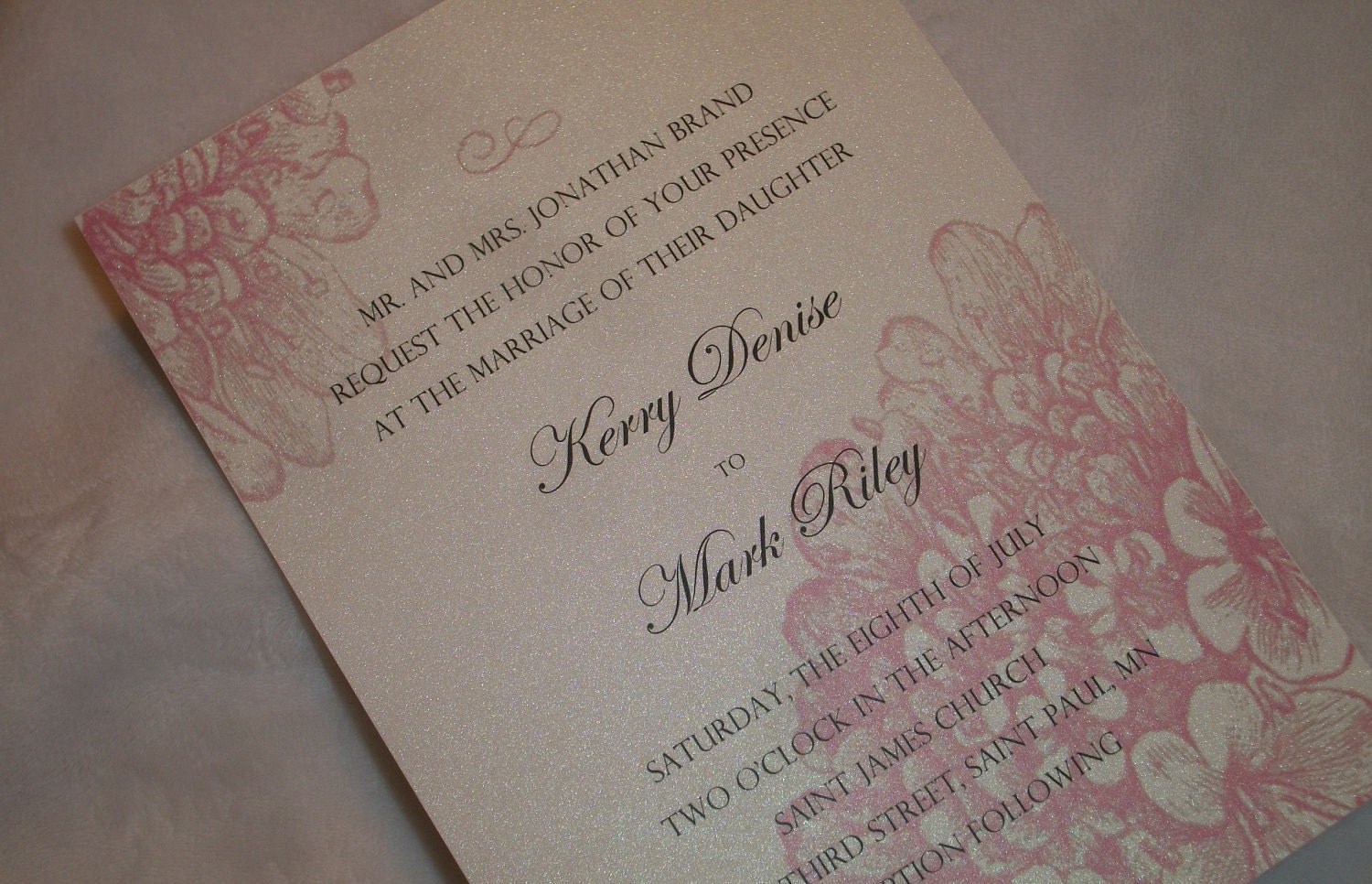 Pearl Champagne Wedding Invitation with Pink Hydrangea and Satin Ribbon