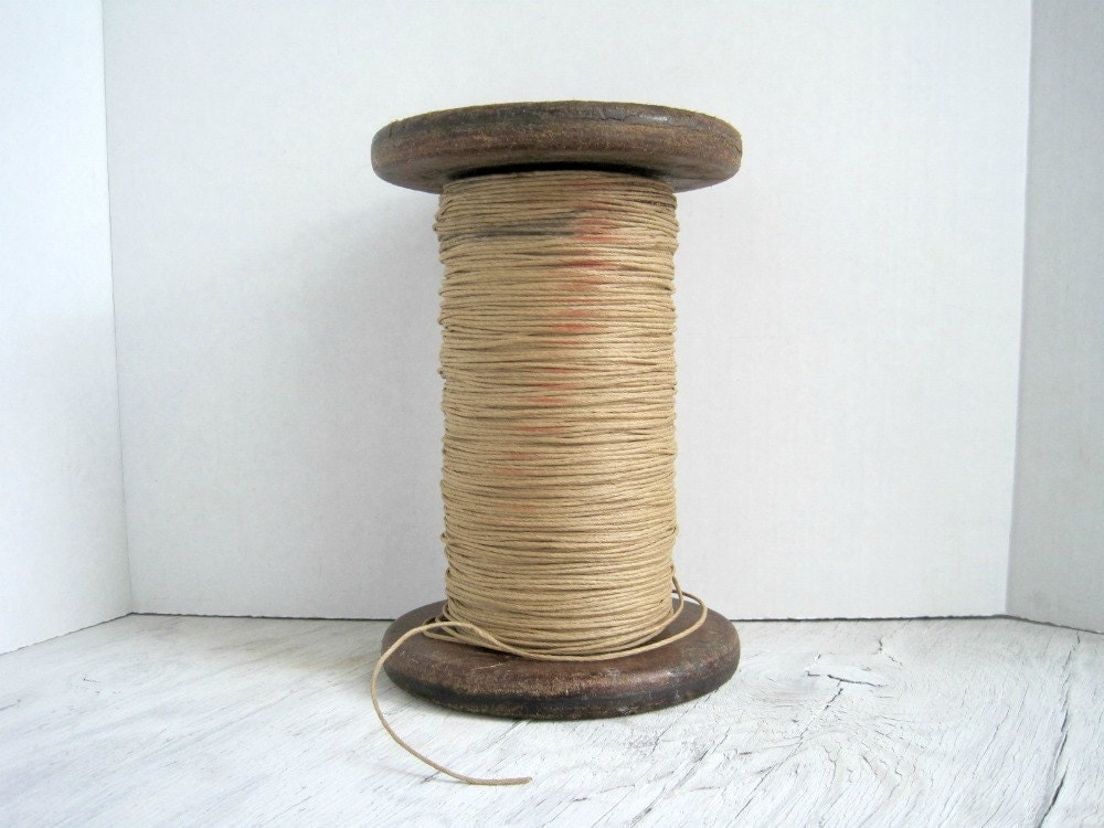 Vintage Industrial Spool with Paper Twine - Rustic Industrial Chic