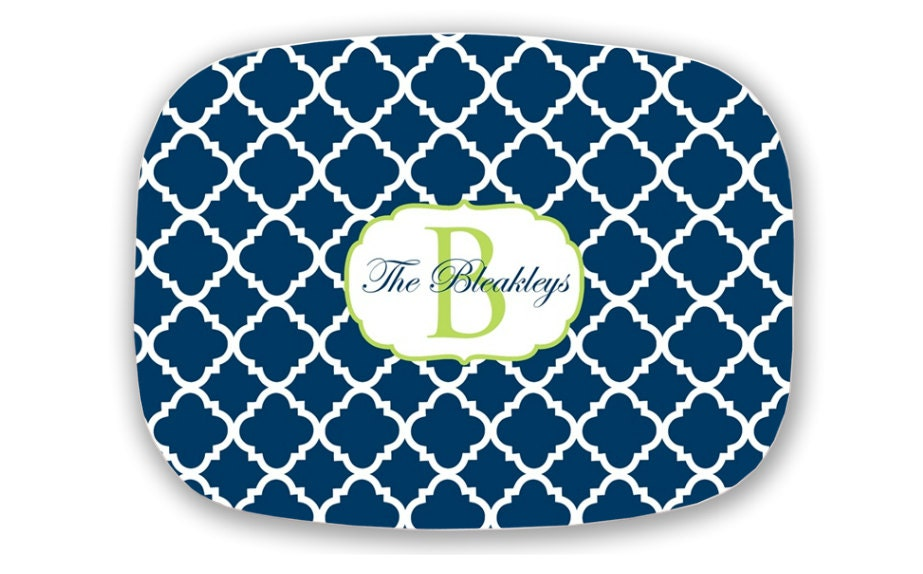 Personalized Melamine Platter with Monogram  Choose your Colors- Wedding Gift