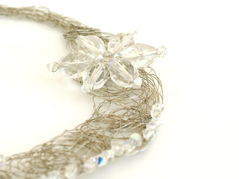 Silver Choker Necklace with Czech Crystals