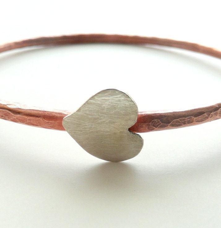 Hammered Copper Bangle with Sterling Silver Heart