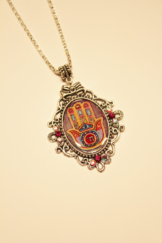 Chai charm necklace, evil eye necklace, Hamsa necklace, Treee of life, Hebrew charm necklace, Judaica, evil eye necklace, Life charm
