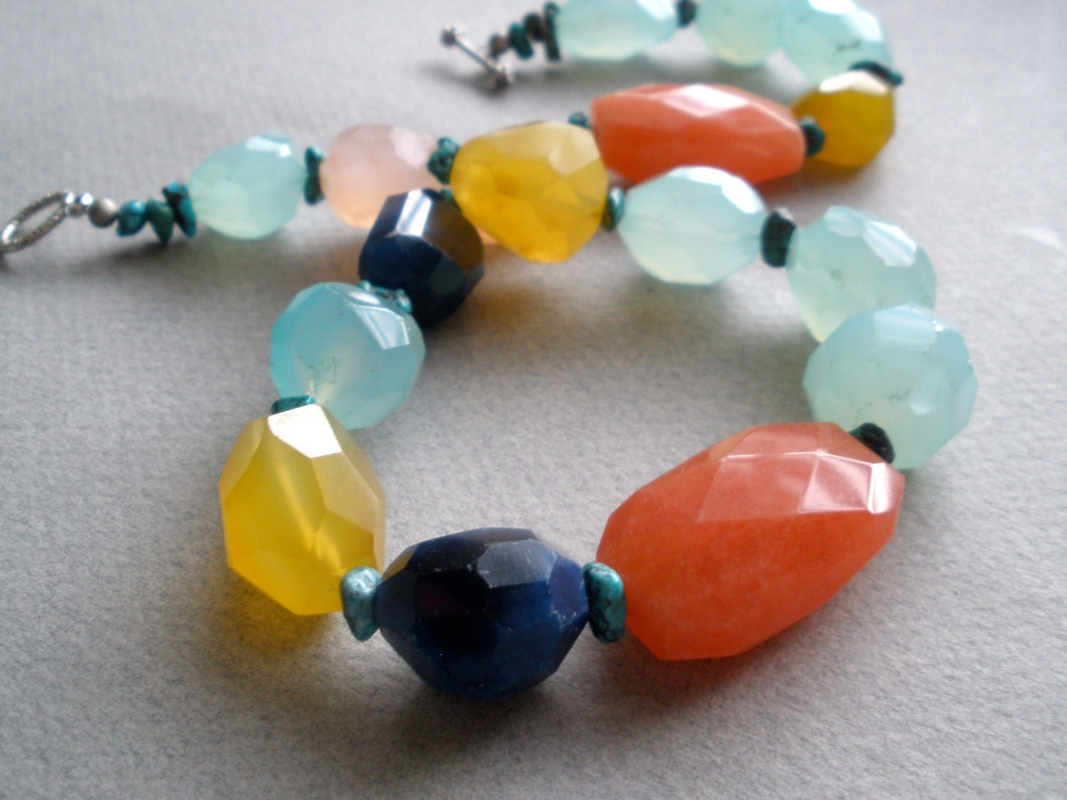 Carnival V - Chunky faceted colorful gemstone necklace in cobalt, aqua, honey yellow, pink and tangerine
