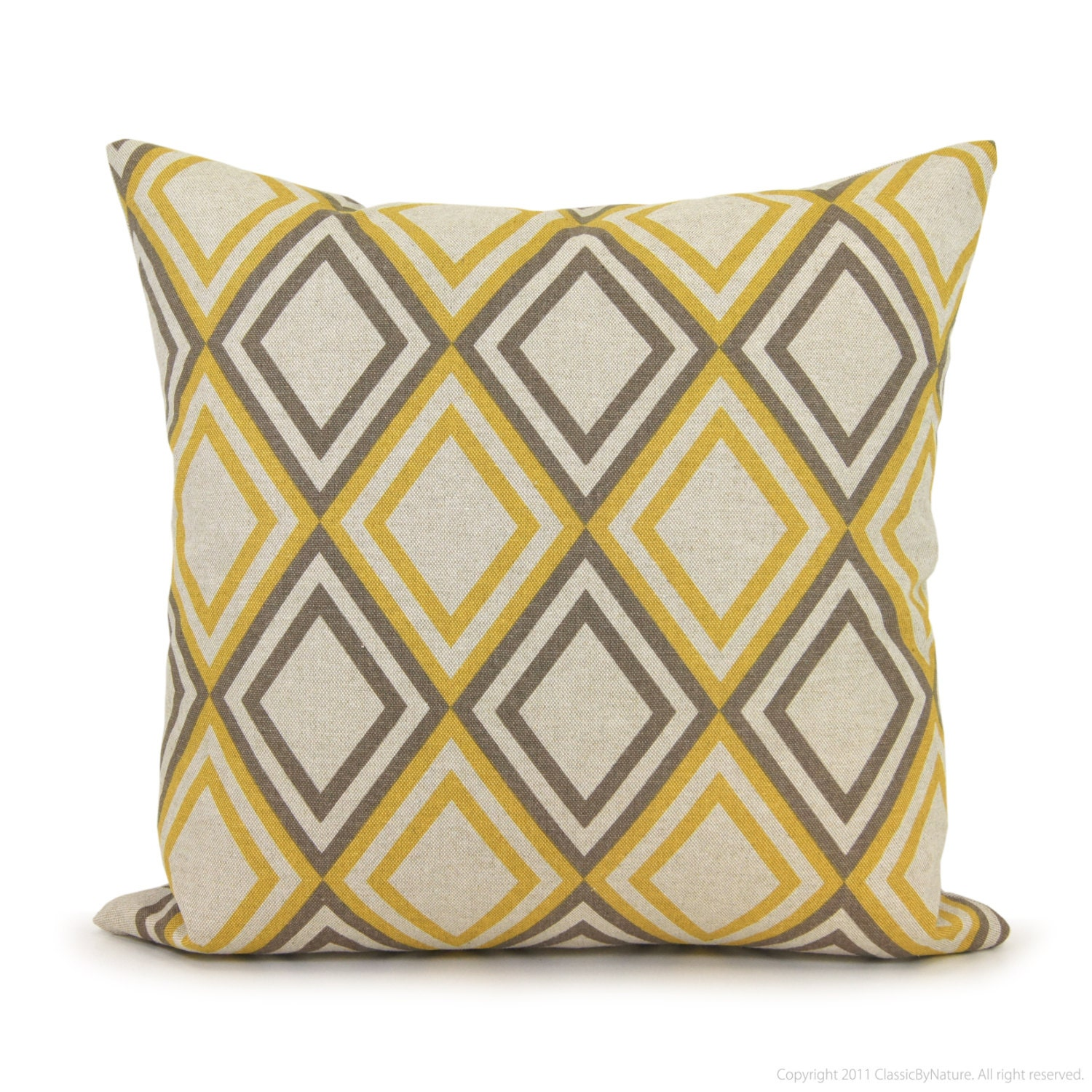 Geometric pillow cover - 18x18 pillow cover - Gray and yellow decorative pillow cover - Modern 18x18 throw pillow cover - ClassicByNature