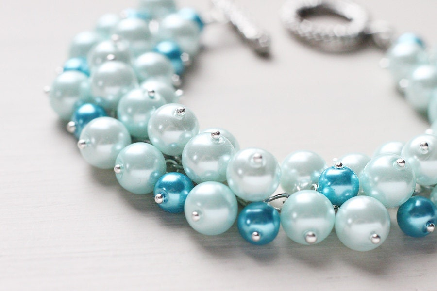 Light Blue Winter Wedding Bridesmaid Jewelry Pearl Cluster Bracelet - Clouds