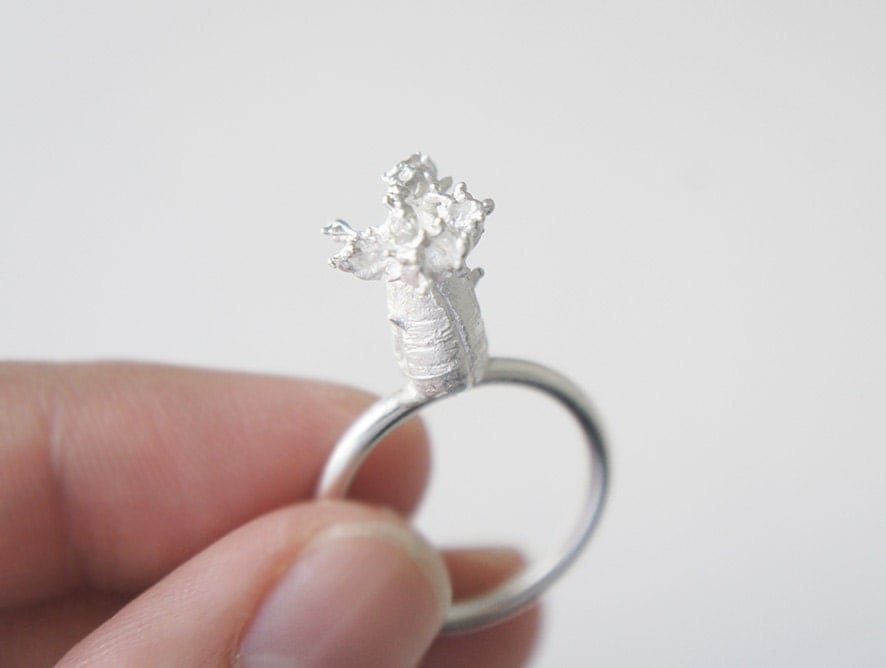BAOBAB ring - Infancia Series - Le Petit Prince inspired, silver tree ring, organic, delicate, miniature, nature, madagascar, little prince