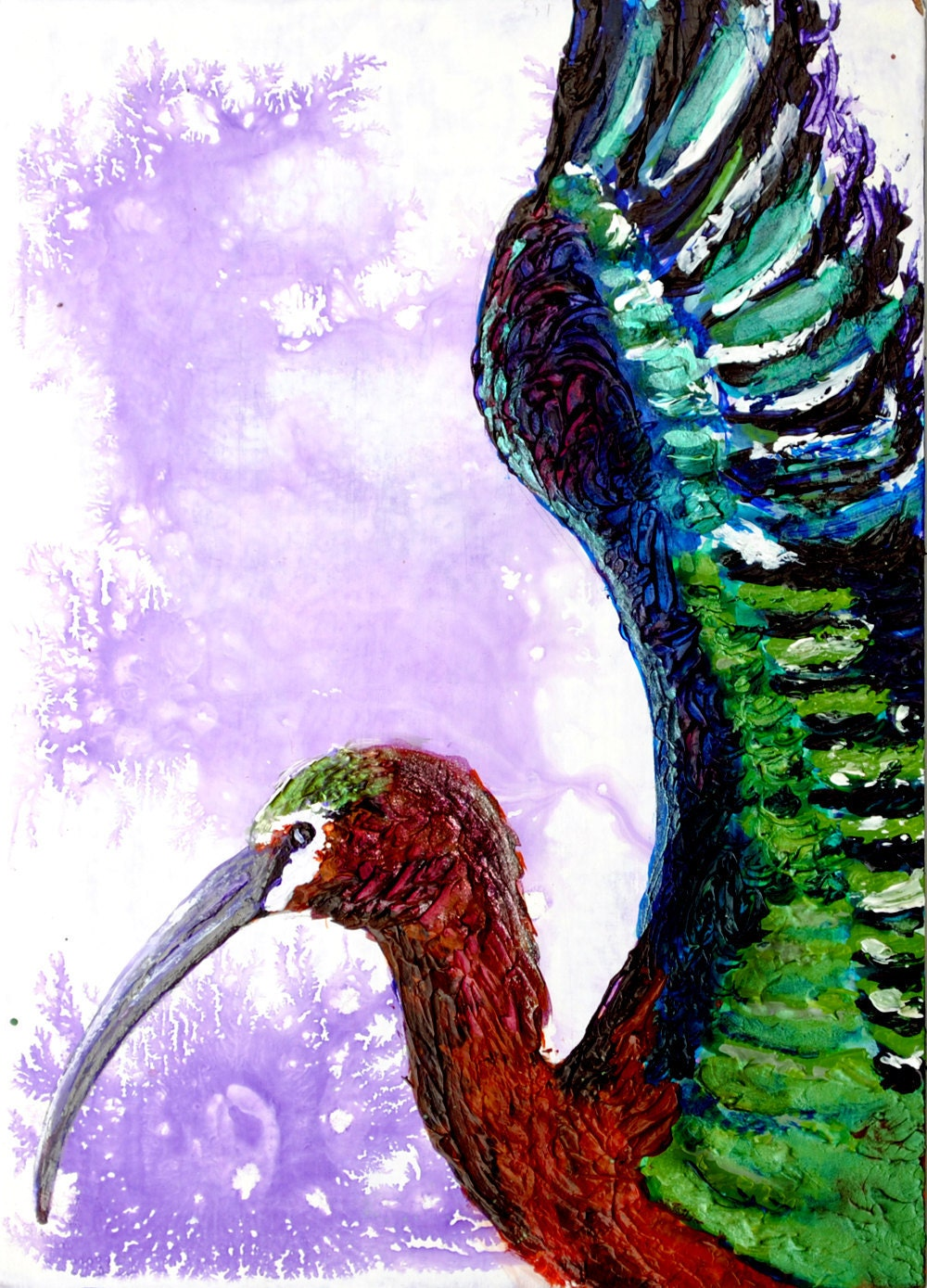 Ibis Bird Painting - Abstract Acrylic - BobbisMixedMediaArt