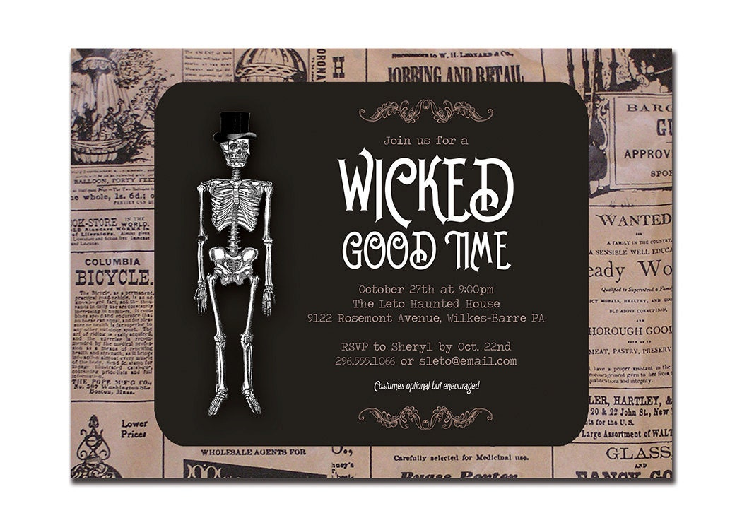 Vintage Halloween Invitation Adult Party Invitation Retro Skeleton Wicked Good Time Newspaper DIY Digital or Printed- Leto Style