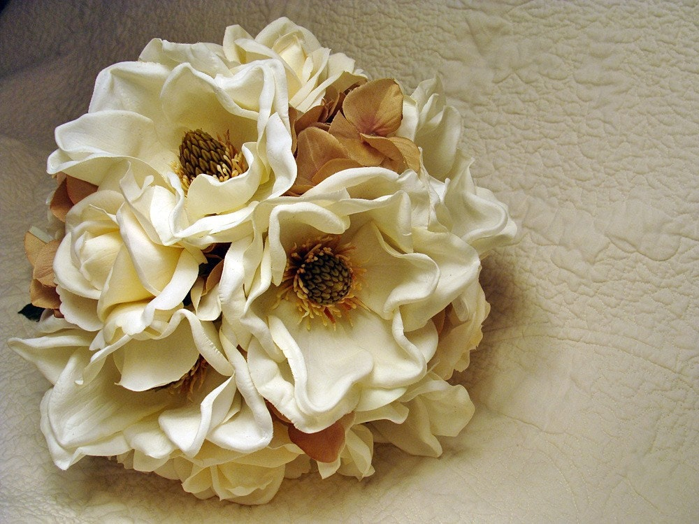 Winter Wedding Bouquet Magnolia Roses and Hydrangea HandTied Bridal