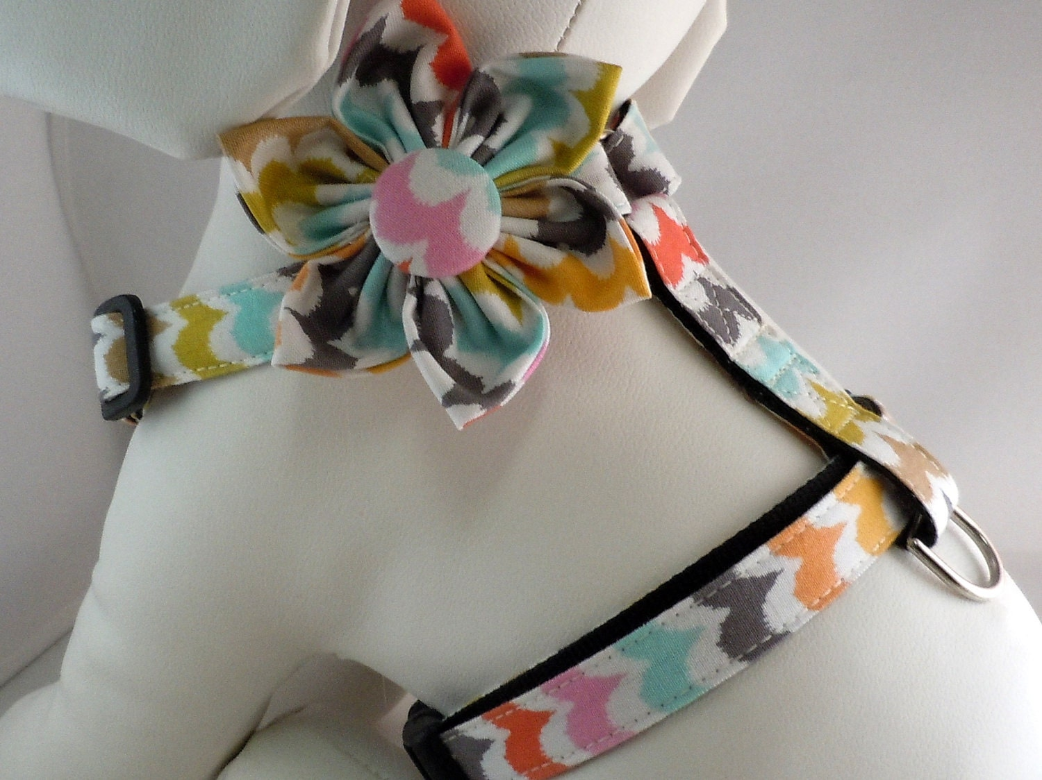 Dog Harness with Flower or Bow Tie Set - Traditional or Step-In - Pick Any Fabric in Shop - LearnedStitchworks