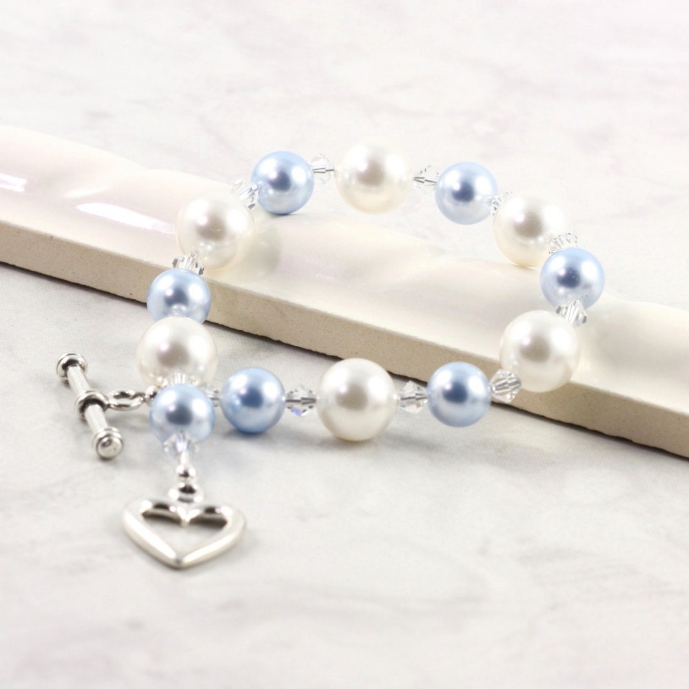 Blue White Bracelet Bridal Jewelry Pastel Pearl Crystal Summer Fashion Sterling Toggle Heart Clasp