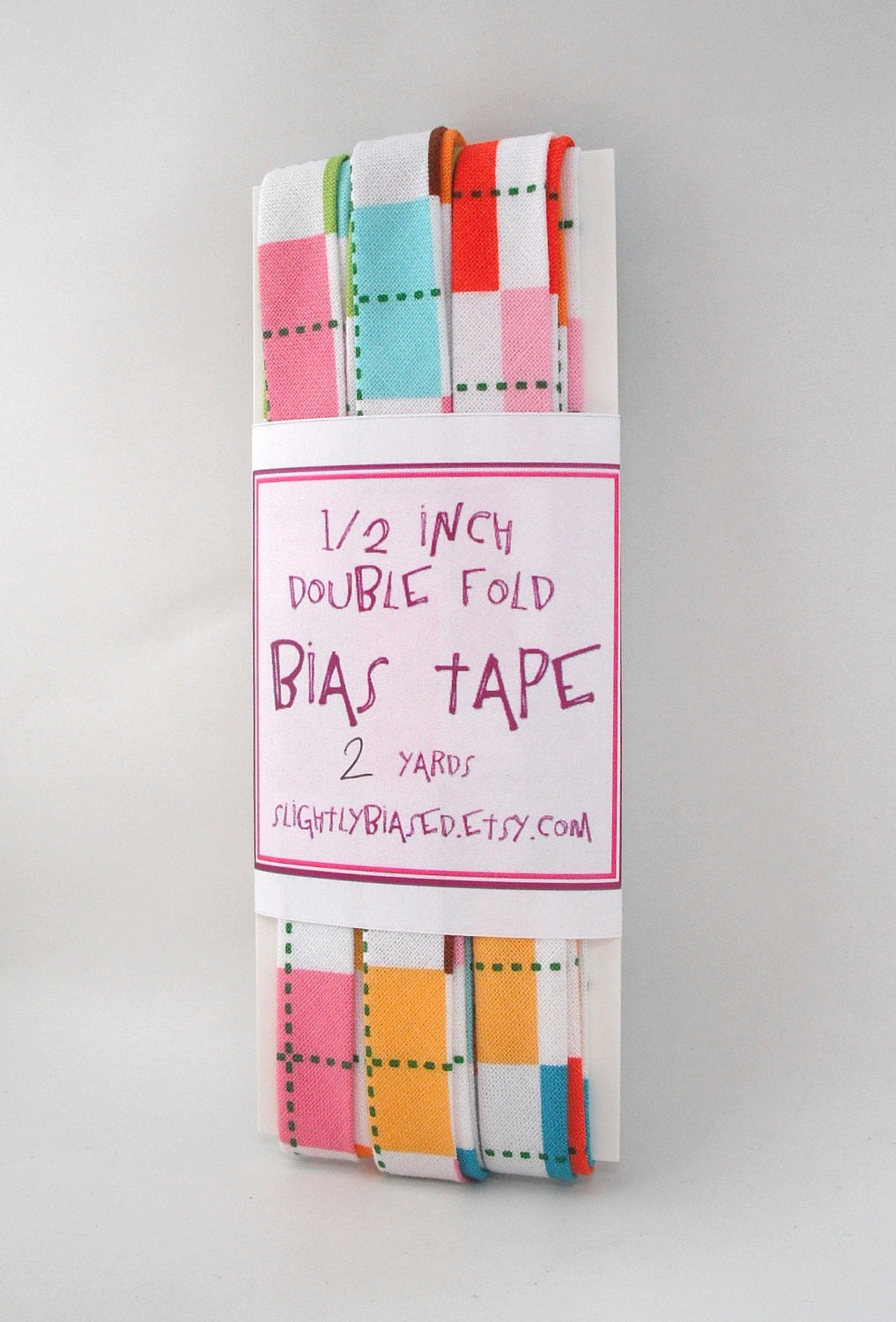 Bias Tape - Remix Argyle in Bright Handmade Double Fold Bias Tape, 2 Yards