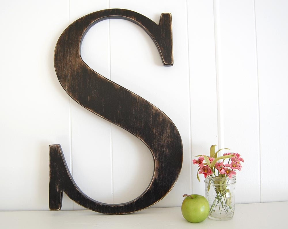 "12"" wooden letter S - wall art signage rustic americana primitive Black - Letter S - OldNewAgain"