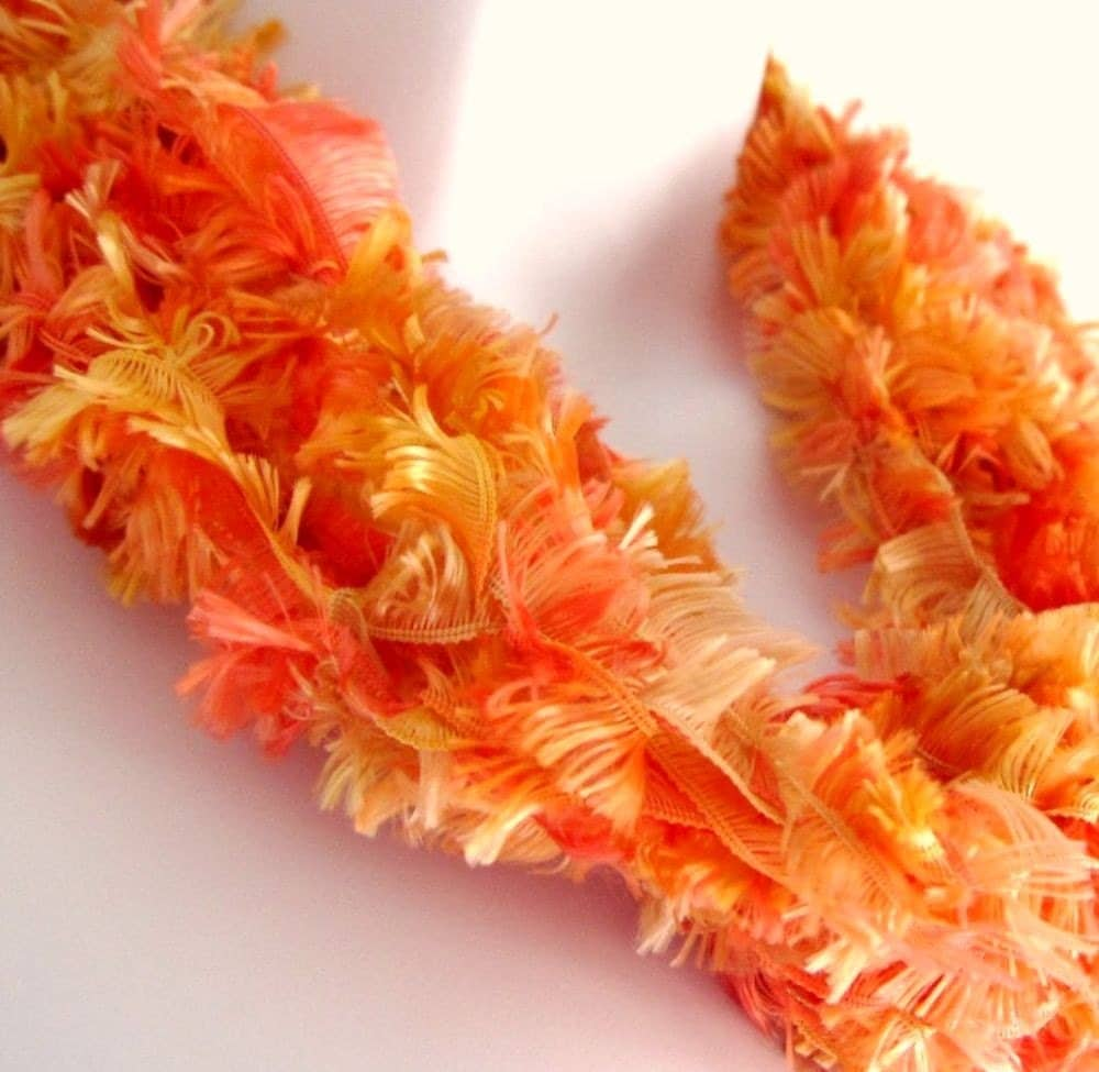 Infinity Scarf- Orange Peach and Soft Yellow feathery light  Twisted Mobius Scarf