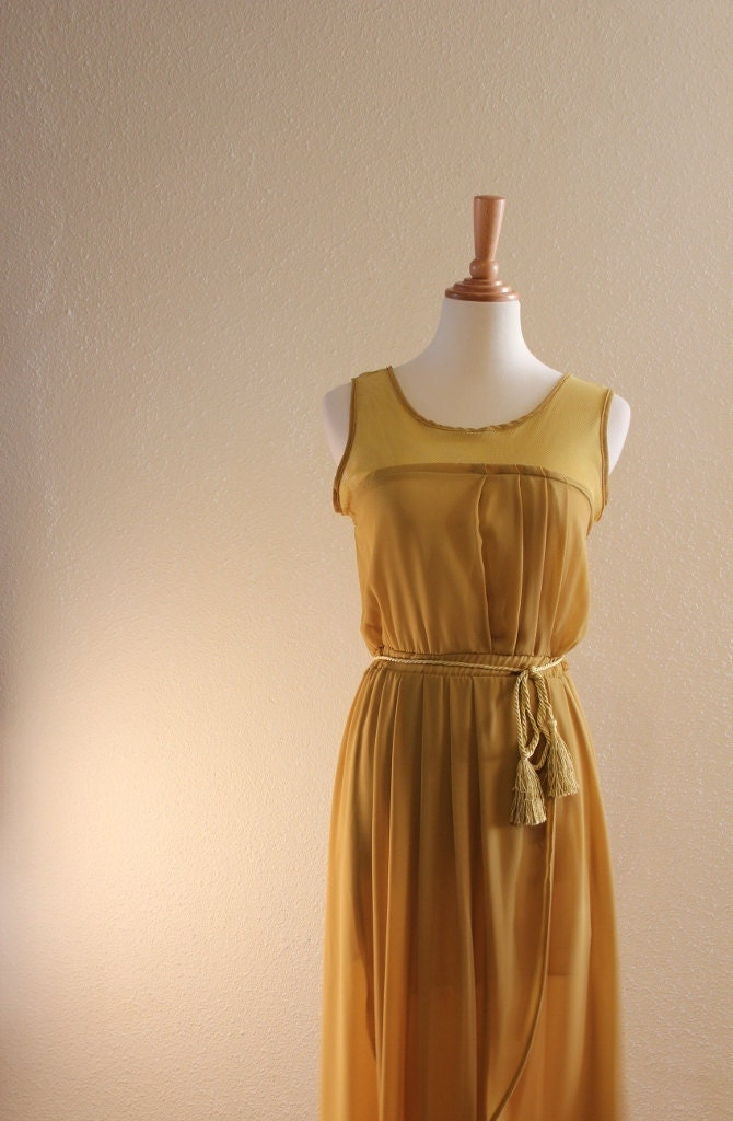 Greek Goddress Romantic Dress in Chiffon Vintage Mustard Sleeveless Vintage with Tassels Rope Belt