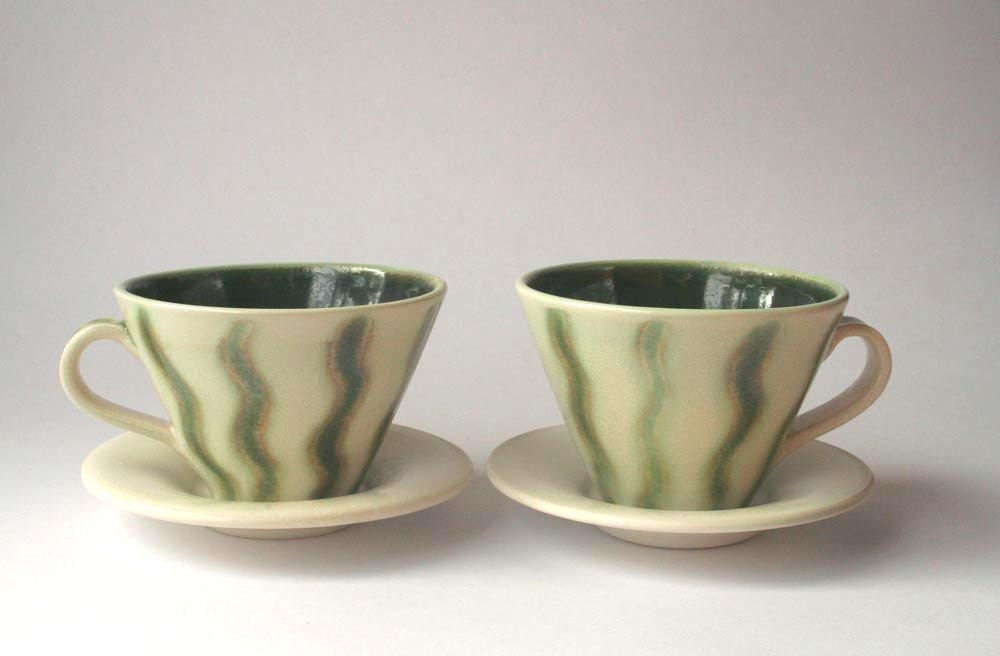Set of 2 Teacups with Saucers