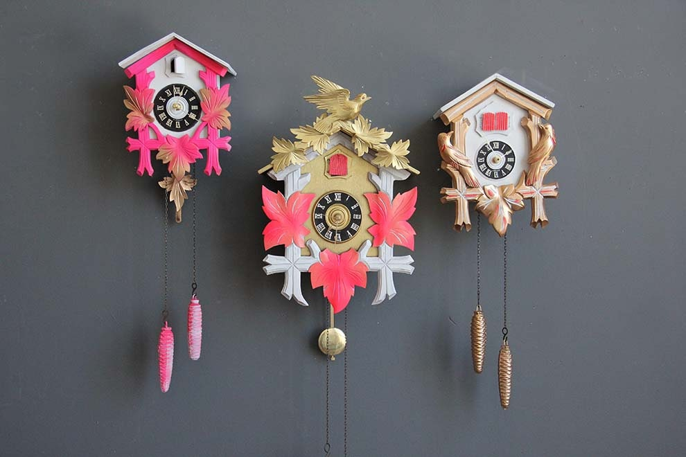Large Gold & Peach Cuckoo Clock. Working Condition