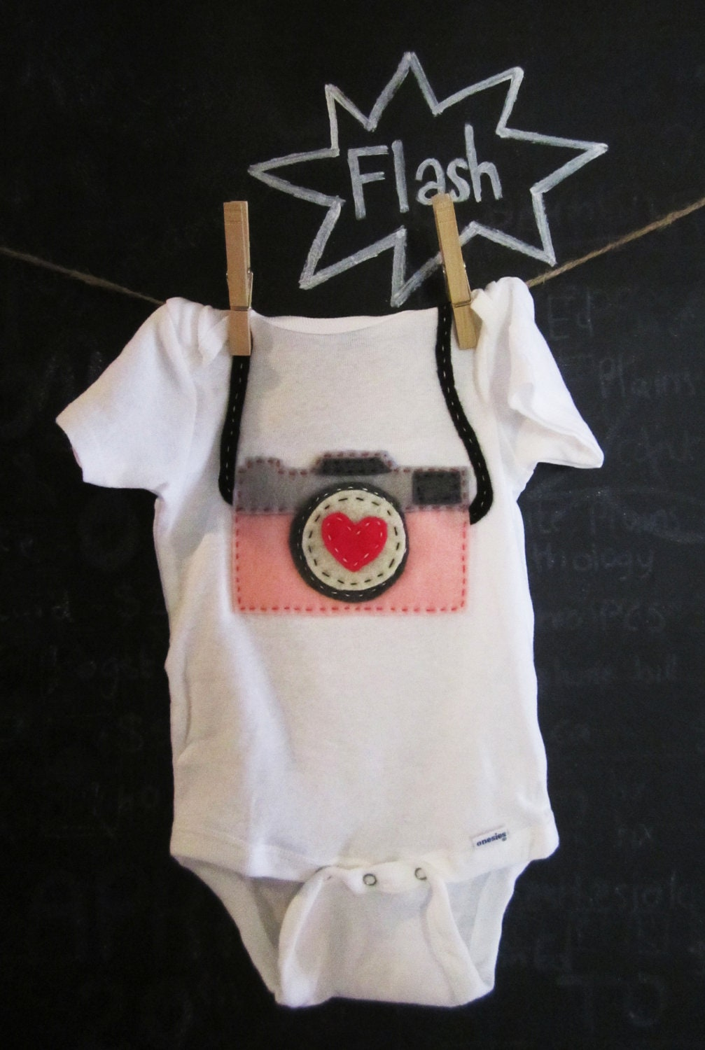 Custom Felt Camera Baby Onesie or shirt. Choose your own colors.