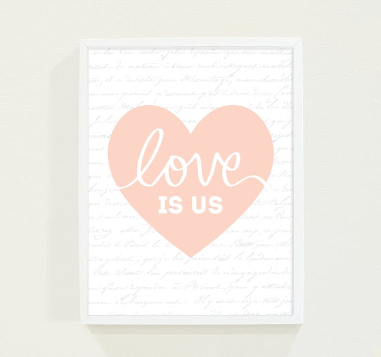 Peach Coral Heart Typography Poster Love Print - Minimalist Wall Art Print for the Modern Home - Valentine - Valentines Day - fieldtrip
