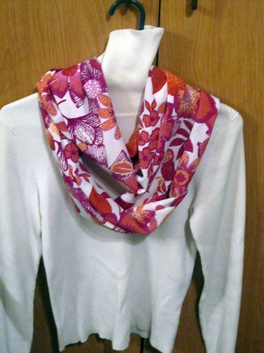 White with Pink Flowers  Spring Infinity scarf, circle scarf, cowl scarf
