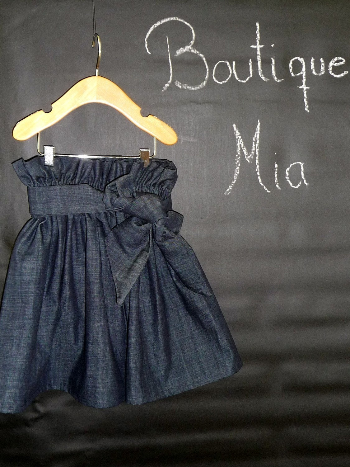 Women - Denim Paper Bag SKIRT and SASH - You Pick the Size - Junior, Adult and Plus size - Boutique Mia by CXV - BoutiqueMiaByCXV