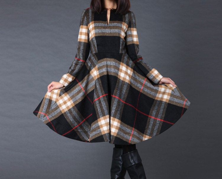 kekebo سبک لباس پشم پوشش کت کت ترمه زمستان ژاکت کت صورتی شطرنجی سیاه و سفید سبز قرمز سیاه و سفید کت کت گل کت کت بلند پرسید :