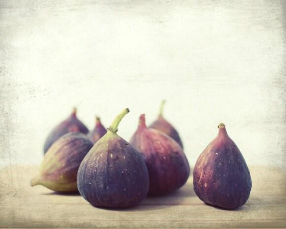 Fine Art Photography - fresh figs food photography - rustic kitchen decor - fruit photo autumn harvest - purple wall art beige  8x10 - LupenGrainne