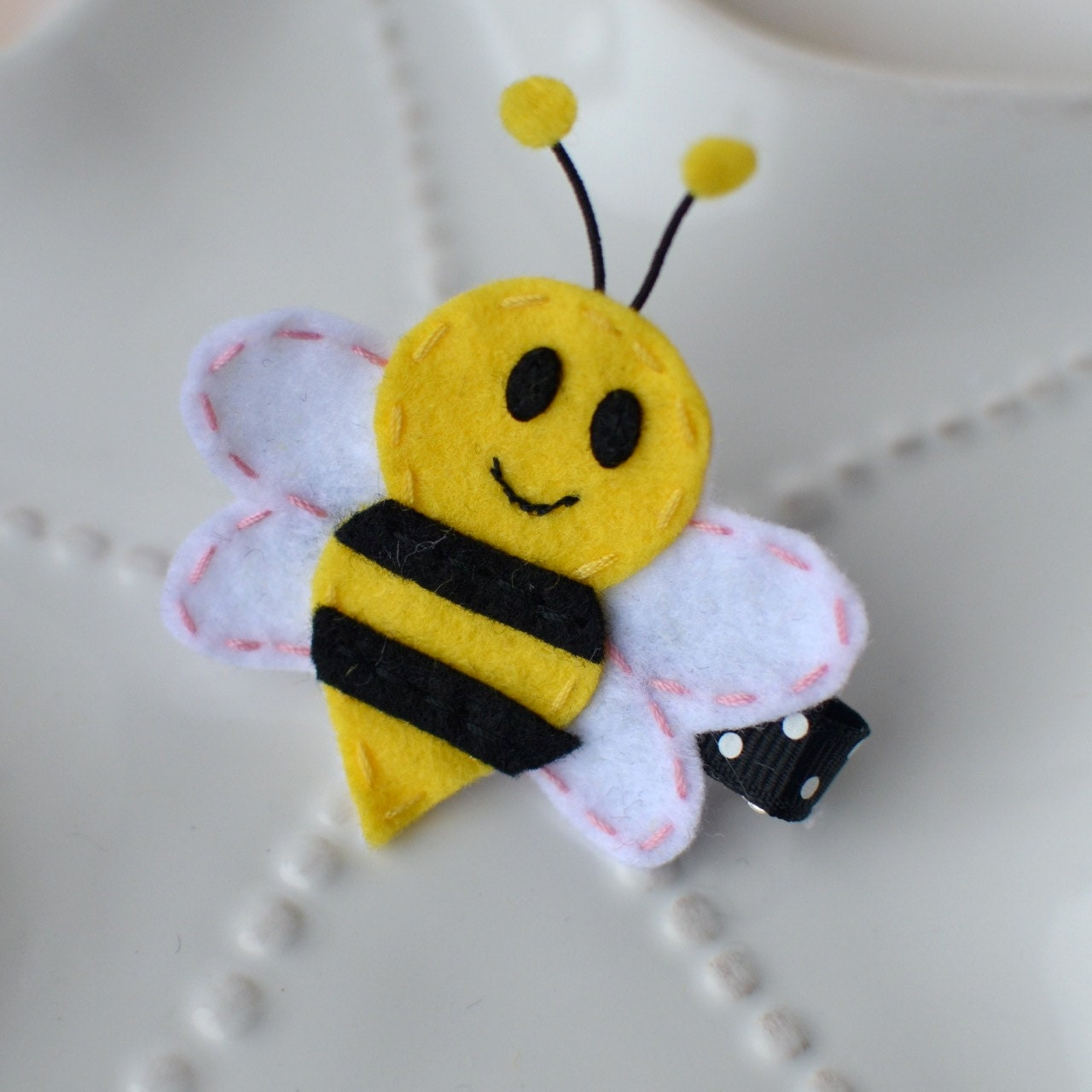 Felt Bumblebee Hair Clip- Cute Bee Bow - MyLittlePixies