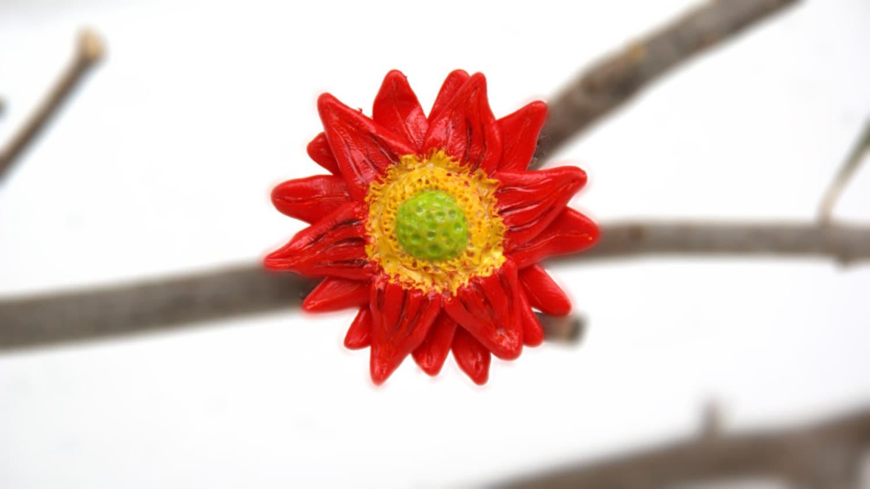 Red Daisy Ring , Adjustable, Handmade Polymer Clay - GabiAndAsia