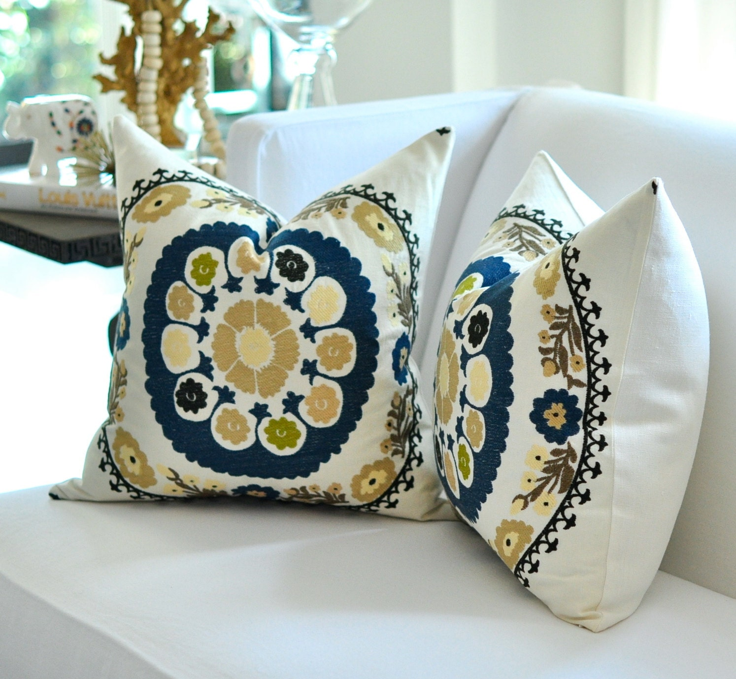"20""sq. Bukhara SUZANI Embroidery pillow cover in Teal Blue"
