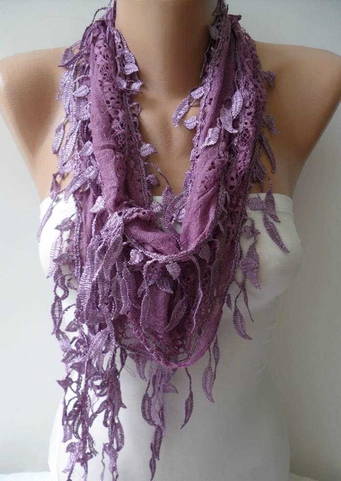 Lilac Laced Scarf with Trim Edge -- Speacial Laced Fabric - SwedishShop