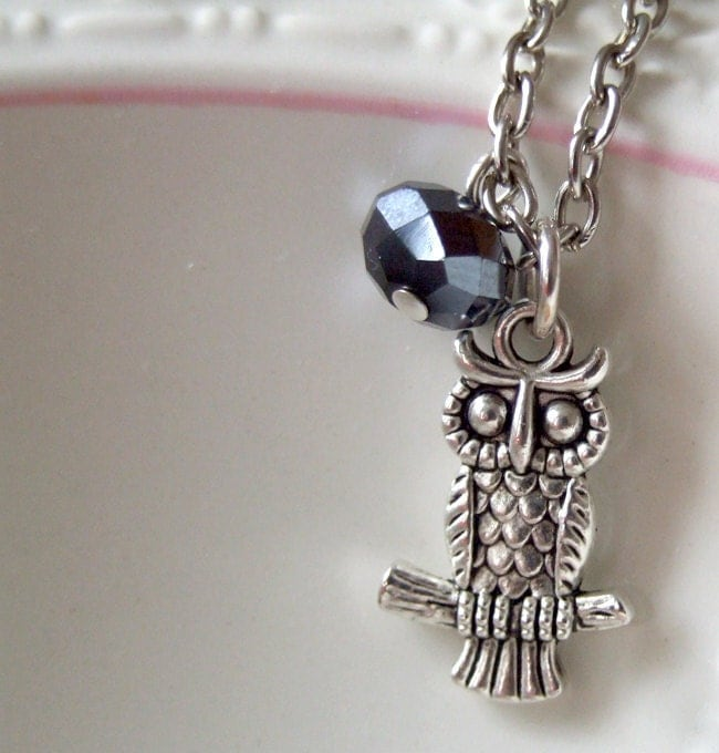 Midnight Owl Necklace - owl necklace with a granite crystal - trendy, modern