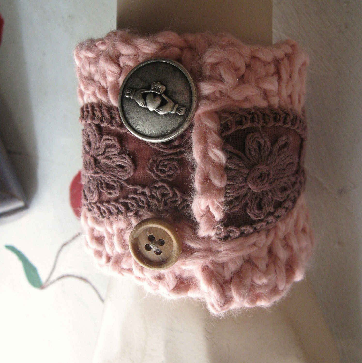 Pink Crochet Cuff Friendship Bracelet