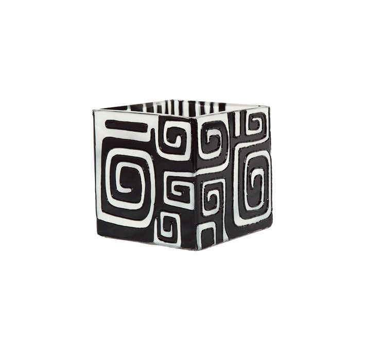 Black and White Labyrinth- Hand Painted  Mini Candle Holder-  Decorative Glass Art