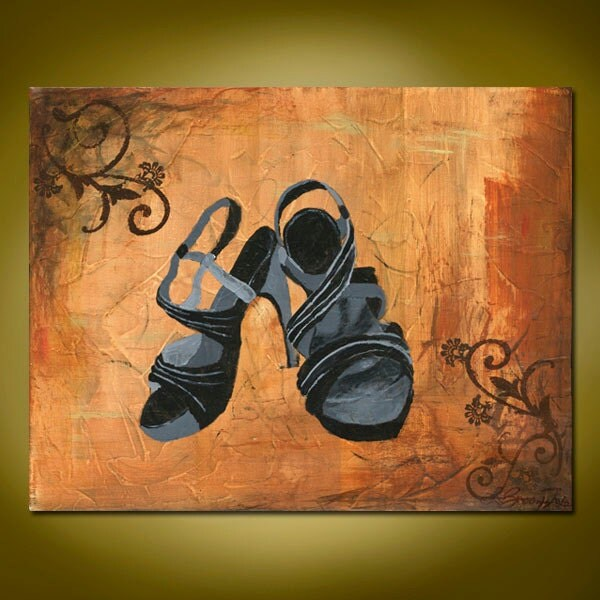In Her Shoes- Original Acrylic Abstract Painting, Brown and Gold, with Black High Heels (Painting No. N038)