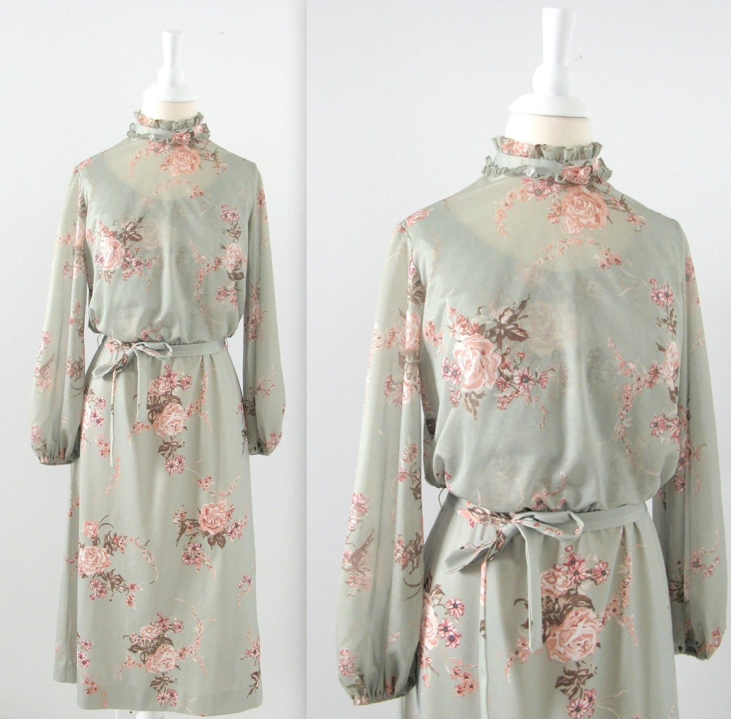 Vintage Floral Day Dress  - Sage Green and Pink - 1960s - Small - TwoMoxie