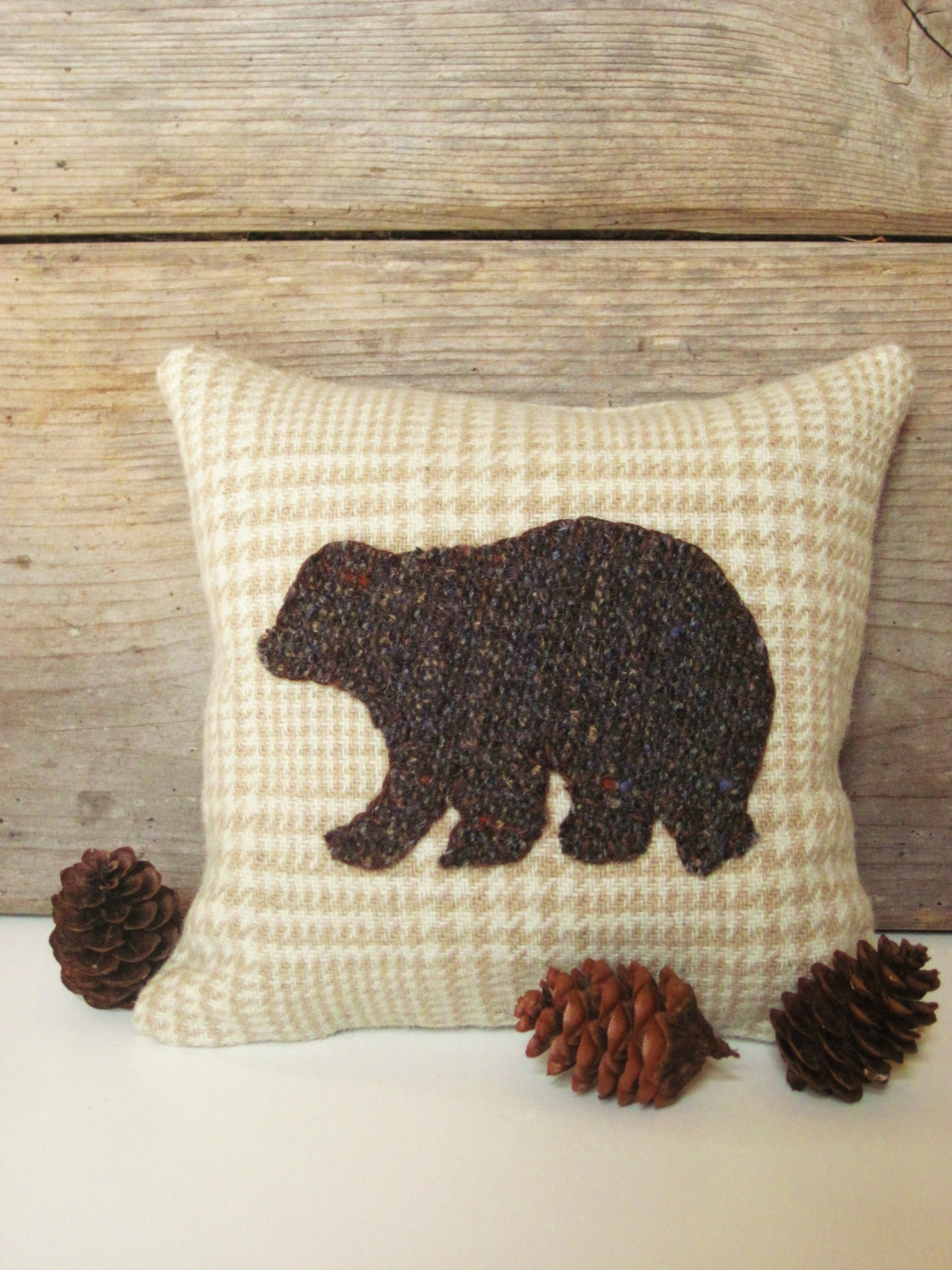 Decorative Balsam Pillow / Brown Bear Pillow / Wool Pillow / Rustic Camp Pillow / Six Inch Pillow - AwayUpNorth