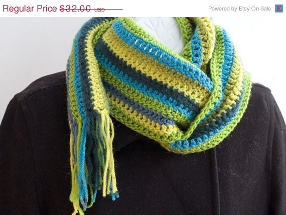 Striped Crocheted  Scarf Wool Scarf, Multicolor Stripes  Green Yellow Turquoise,  Winter Accessories - beadedwire