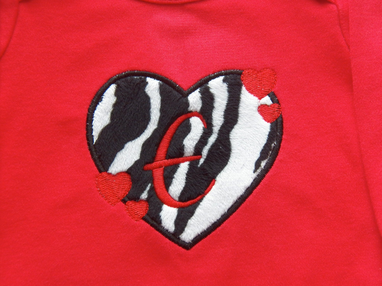 Valentine Applique Minky Zebra Print Heart with Alphabet Letter Onesie